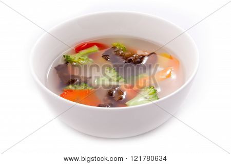 Bowl with shiitake vegetable soup