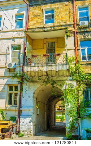 Typical residential edifice in old part of Odessa Ukraine.