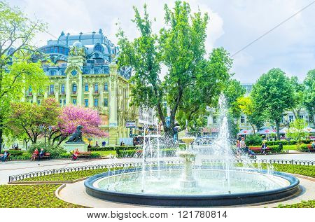 ODESSA UKRAINE - MAY 18 2015: The fountain in the City Garden is the most popular place among youth especially in hot summer days on May 18 in Odessa Ukraine.