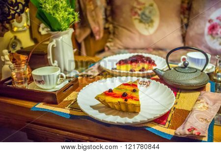 ODESSA UKRAINE - MAY 18 2015: Fruit cakes are the most tasty desserts that proposes in Odessian cafes on May 18 in Odessa.