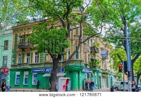 ODESSA UKRAINE - MAY 18 2015: The urban scene of the residential district in old part of the city on May 18 in Odessa.
