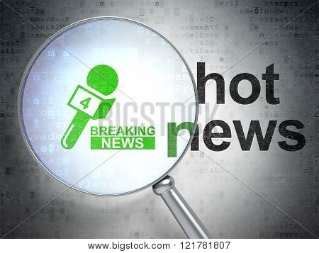 News concept: Breaking News And Microphone and Hot News with optical glass
