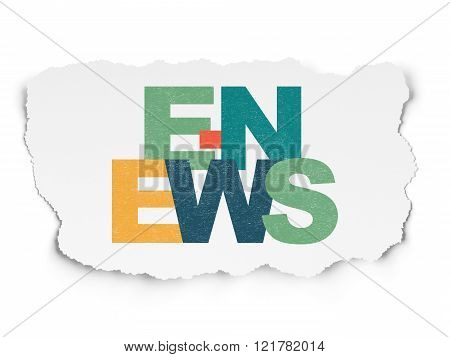 News concept: E-news on Torn Paper background