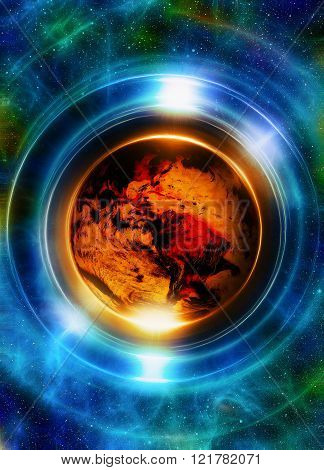 Planet earth in light circle, Cosmic Space background. Computer collage. Earth concept. Elements of