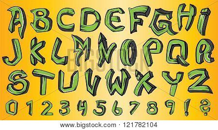 street graffiti style green font alphabet design