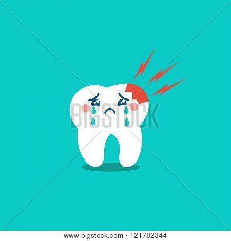 Vector cartoon sick tooth. Decay and destroy tooth. Cute tooth crying.