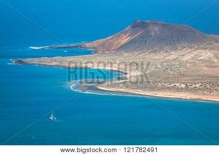 View of Graciosa Island from Mirador del Rio Lanzarote Island Canary Islands Spain