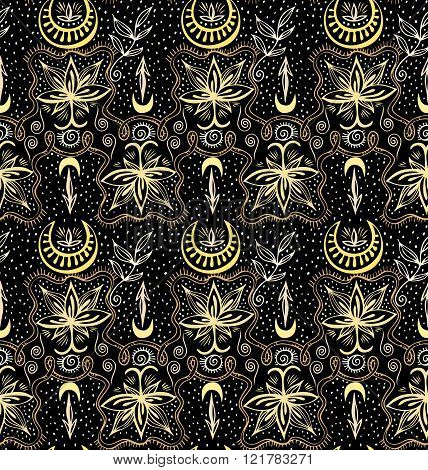 Golden Lotuses Seamless Crescent Pattern