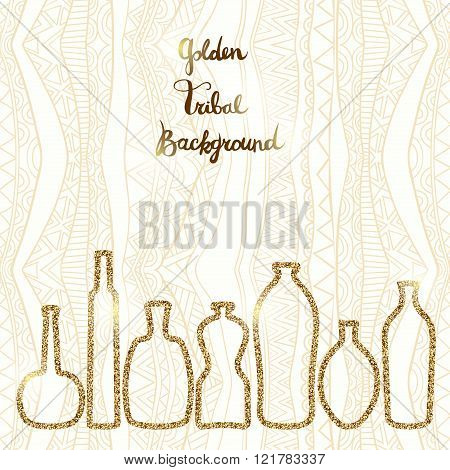 Golden Tribal Background With Bottles