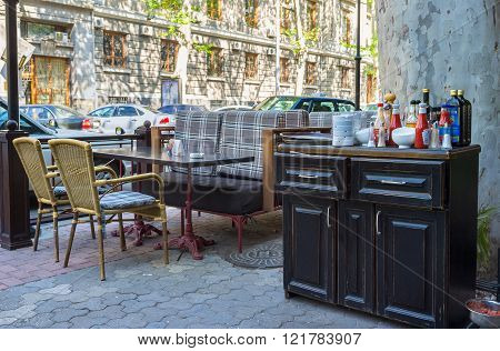 ODESSA UKRAINE - MAY 18 2015: The comfortable furniture of the summer terrace of the local restaurant on May 18 in Odessa.
