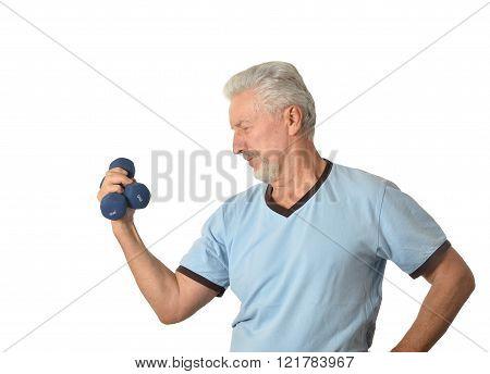 Senior man Standing With Dumbbell