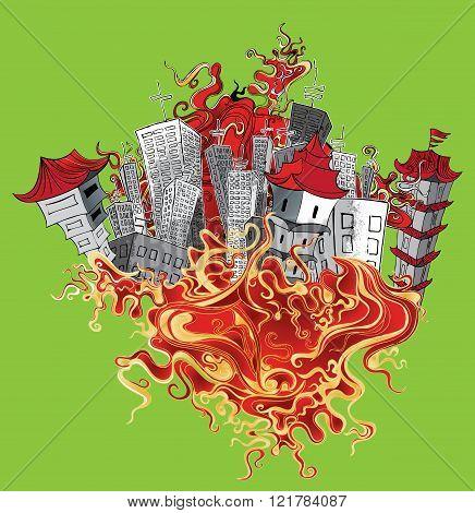 japanese oriental city concrete houses fire element vector illustration