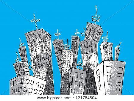 cartoon concrete panel city grey texture illustration
