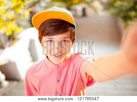 Boy making selfie