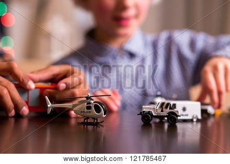 Boys' toy police transport.