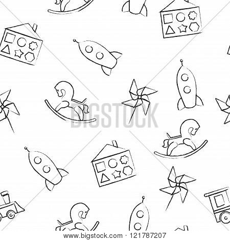 Seamless pattern black crayon children's drawings on white background. Hand-drawn style. Seamless ve