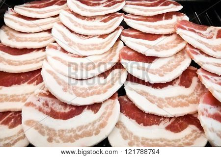 Close up of Slide raw pork background