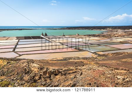 Lanzarote saltworks salinas de Janubio colorful Canary Islands