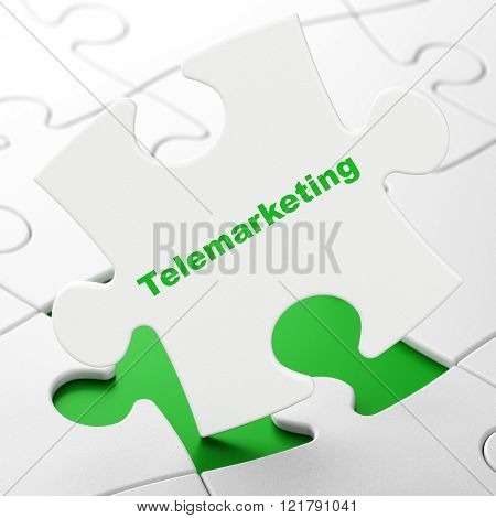 Marketing concept: Telemarketing on puzzle background