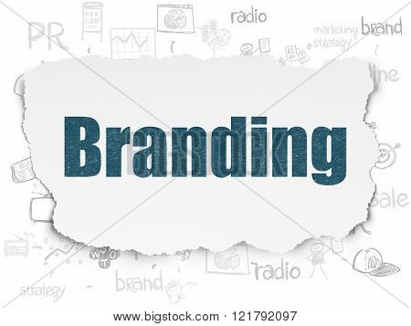 Advertising concept: Branding on Torn Paper background