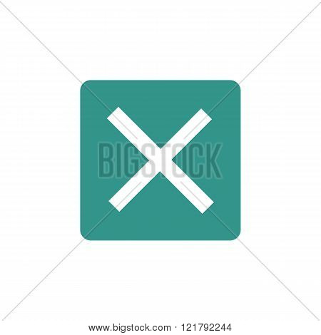 Cancel Icon, On Green Rectangle Background, White Outline