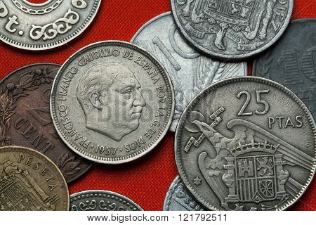 Coins of Spain under Franco. Spanish dictator Francisco Franco depicted in the Spanish five peseta coin (1957).