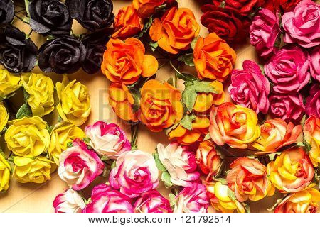 Colorful Flowers Paper Abstract On Wood Background Vintage