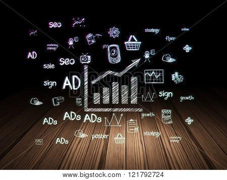 Marketing concept: Growth Graph in grunge dark room