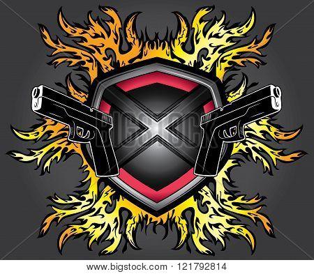 pistol weapon fire flames element background illustration