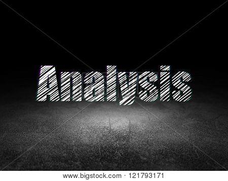 Marketing concept: Analysis in grunge dark room