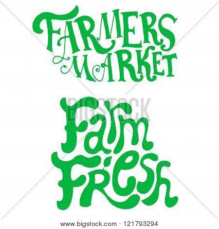 Farmers Market. Farm Fresh. Hand Drwn Phrases.