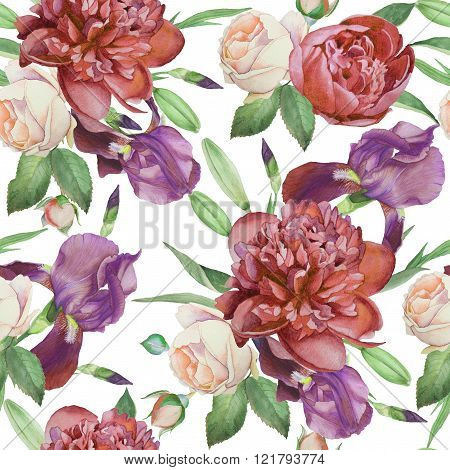 Floral seamless pattern with watercolor peonies, roses and violet iris.