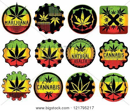 Marijuana cannabis weed textured leaf symbol stamps