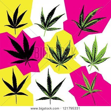 Marijuana cannabis leaf textured symbol vector illustration