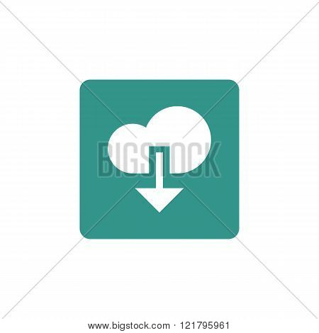 Cloud Download Icon, On Green Rectangle Background, White Outline