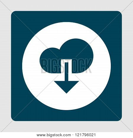 Cloud Download Icon, On White Circle Background Surrounded By Blue