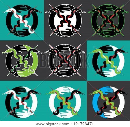 snake silhouette symbol design stamps graphic illustration