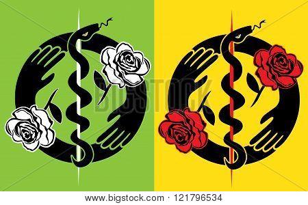 snake silhouette symbol flower rose design stamps
