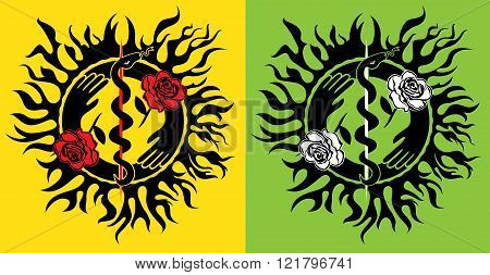 snake silhouette symbol flower rose design stamps
