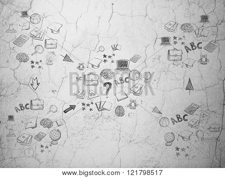 Grunge background:  wall texture with Painted Hand Drawn Education Icons