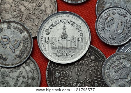 Coins of Nepal. Swayambhunath Temple in Kathmandu, Nepal depicted in the Nepalese 50 paisa coin.