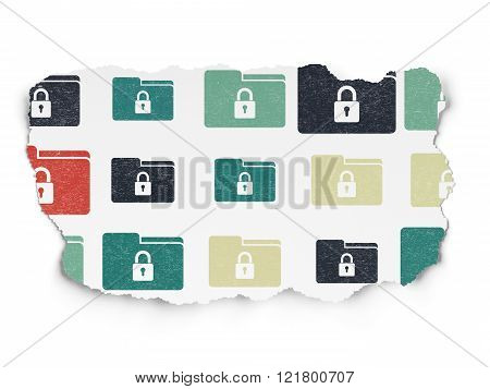 Business concept: Folder With Lock icons on Torn Paper background