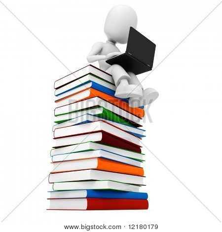 3d man sitiing on a pile of books an d working at hes laptop