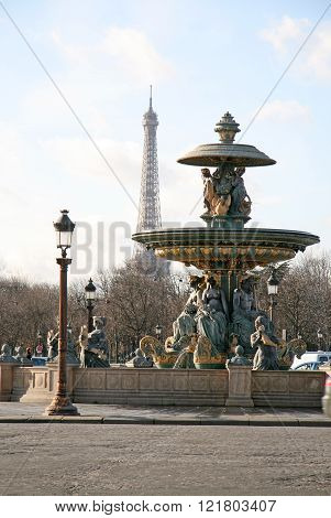 Paris, France - November 27, 2009: Fontain At The Concorde Square, Paris, France