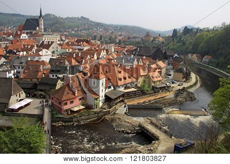 Cesky Krumlov, Czech Republic - May 01, 2013: View To Historic Town Cesky Krumlov On The River Vltav