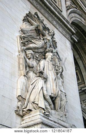 Paris, France - November 27, 2009: Architectural Detail Of The Arc De Triomphe De L'etoile, Paris, F