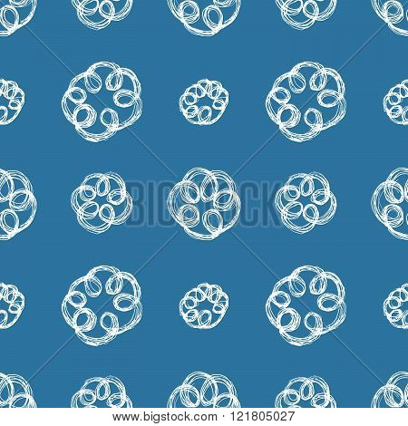Hand Drawn Brush Scribble Flowers Seamless Pattern, Vector Illustration