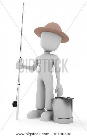 3d man fisherman