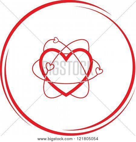 atomic heart. Internet button. Raster icon.