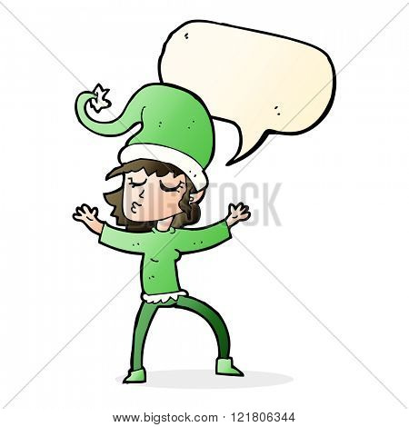 santa's helper cartoon with speech bubble